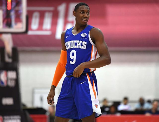 New York Knicks forward RJ Barrett (9) is ready for the weight of expectations as the future of Canadian basketball. (Stephen R. Sylvanie-USA TODAY Sports)