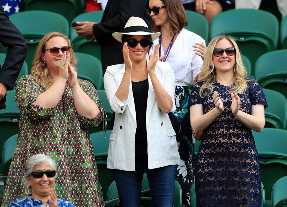 Meghan wore jeans to Wimbledon to support Serena Williams. [Photo: PA]