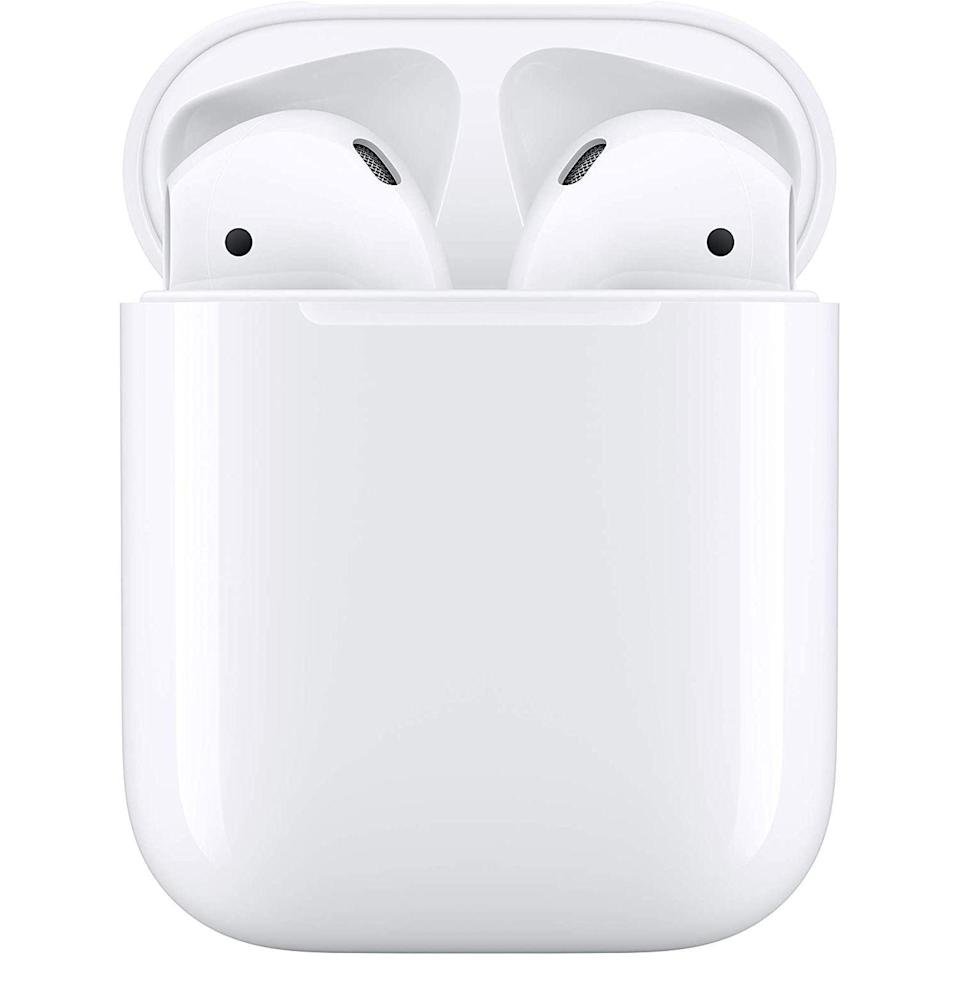 """<p><strong>Apple</strong></p><p>amazon.com</p><p><strong>$114.99</strong></p><p><a href=""""https://www.amazon.com/Apple-AirPods-Charging-Latest-Model/dp/B07PXGQC1Q?tag=syn-yahoo-20&ascsubtag=%5Bartid%7C10054.g.34313481%5Bsrc%7Cyahoo-us"""" rel=""""nofollow noopener"""" target=""""_blank"""" data-ylk=""""slk:Buy"""" class=""""link rapid-noclick-resp"""">Buy</a></p><p><strong><del>$159.00</del> (28% off)</strong></p><p>This is the cheapest you'll ever find AirPods. The case on this model doesn't support wireless charging, but that's an easy compromise to make.</p>"""