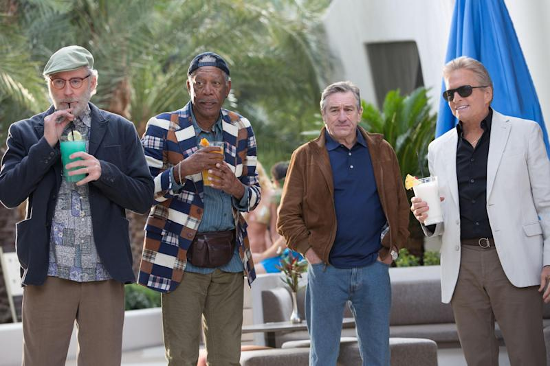 "This image released by CBS Films shows, from left, Kevin Kline, Morgan Freeman, Robert De Niro and Michael Douglas in a scene from ""Last Vegas."" (AP Photo/CBS Films, Chuck Zlotnick)"