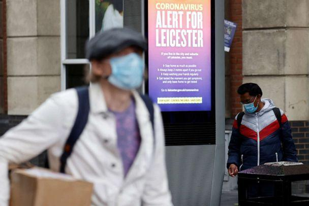 PHOTO: An alert message from the U.K. National Health Service is seen on a street in Leicester, England, on July 1, 2020, after the British government imposed a local lockdown on the city due to rising coronavirus infections. (Phil Noble/Reuters)