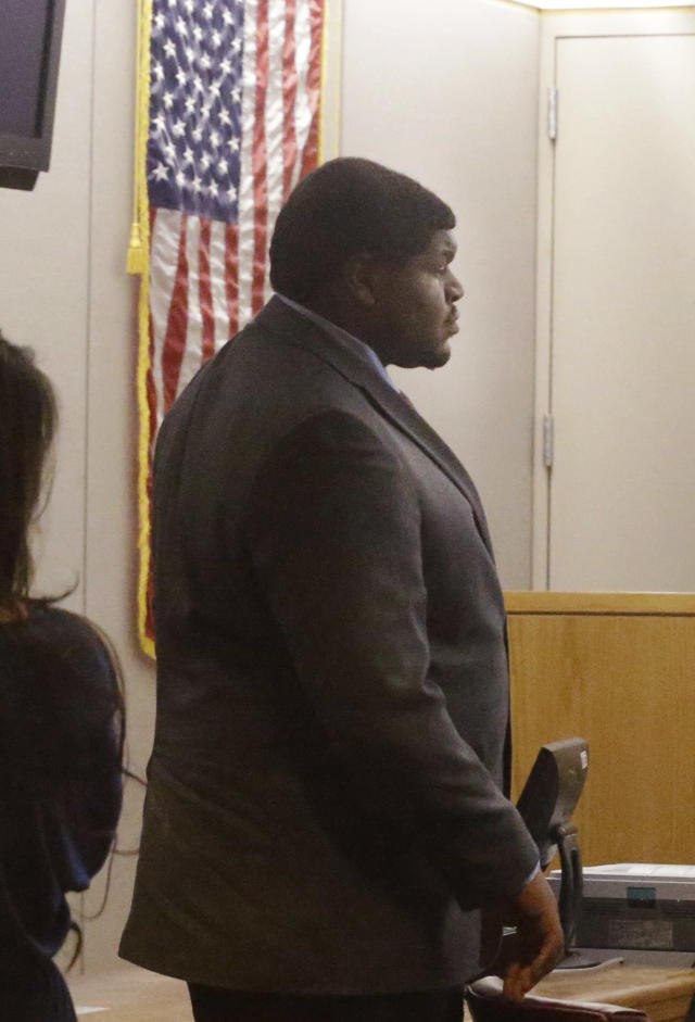 Former Dallas Cowboy Josh Brent stands in court during his trial for intoxication manslaughter Thursday, Jan. 16, 2014, in Dallas. Brent is accused of driving drunk at the time of a December 2012 crash that killed Cowboys practice squad player Jerry Brown. (AP Photo/LM Otero)