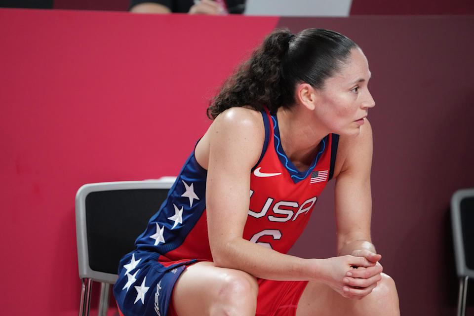 Team USA player Sue Bird sits on the bench during the game against Nigeria.
