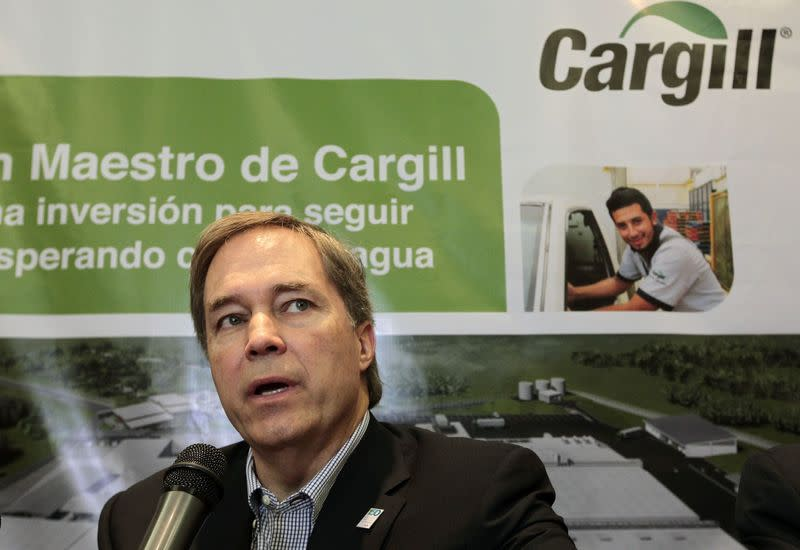 President and CEO of Cargill David MacLennan speaks during a news conference in Managua