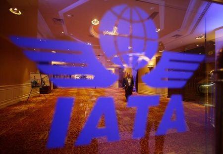 A delegate of the 68th International Air Transport Association (IATA) annual general meeting is pictured through an IATA logo in Beijing