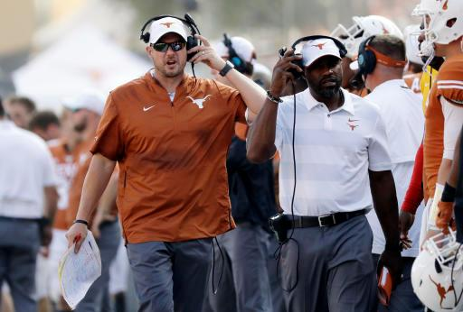 FILE - In this Oct. 13, 2018, file photo, Texas head coach Tom Herman during the second half of an NCAA college football game against Baylor in Austin, Texas. Texas faces Texas Tech on Saturday, and now most likely has to win its last three games and get some help to get into the Big 12 championship game. (AP Photo/Eric Gay, File)