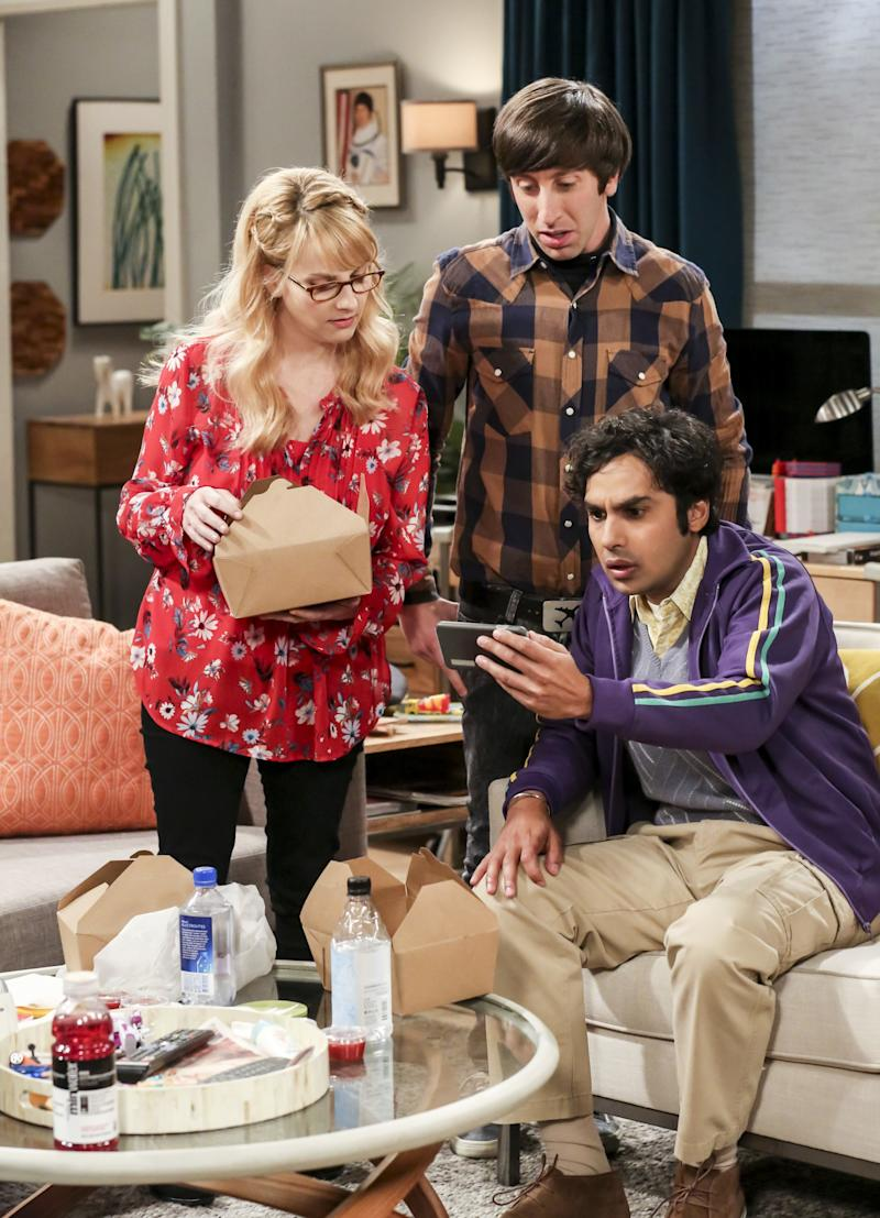 Bernadette (Melissa Rauch), Howard Wolowitz (Simon Helberg) and Rajesh Koothrappali (Kunal Nayyar) on The Big Bang Theory