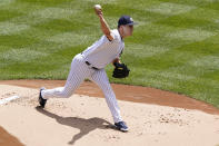 New York Yankees starting pitcher Jameson Taillon delivers during the first inning of a baseball gam against the Kansas City Royals, Thursday, June 24, 2021, at Yankee Stadium in New York. (AP Photo/Kathy Willens)