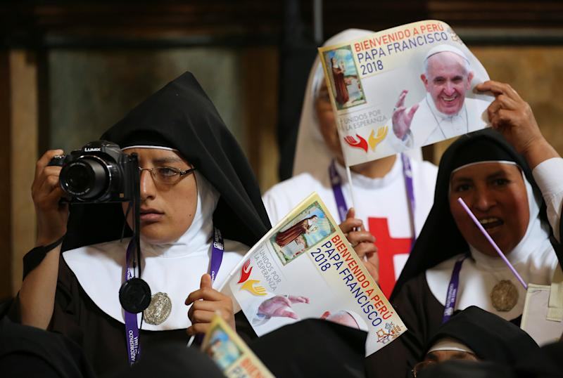 A nun snapped a photo of Pope Francis during his speech in Lima on Sunday.