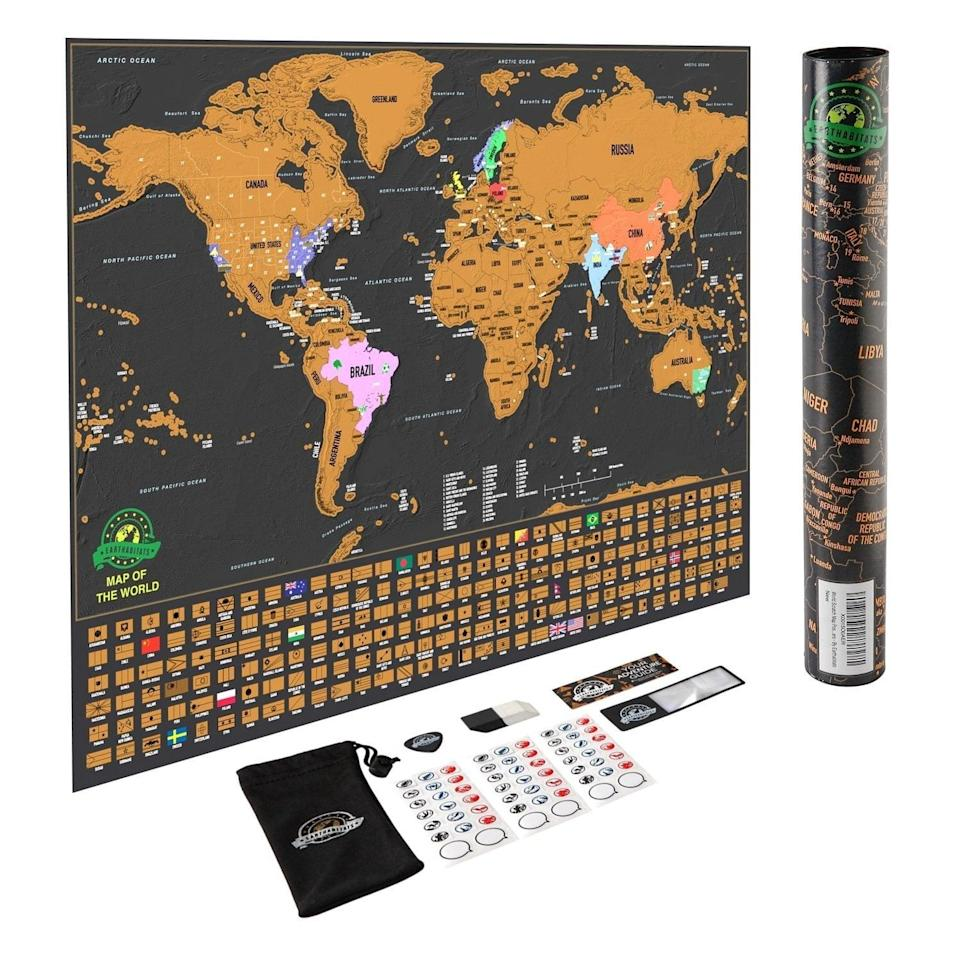 <p>If you know someone who travels a lot, get them this <span>Scratch-Off World Map Poster</span> ($30). They can keep track of every country they've been to. </p>
