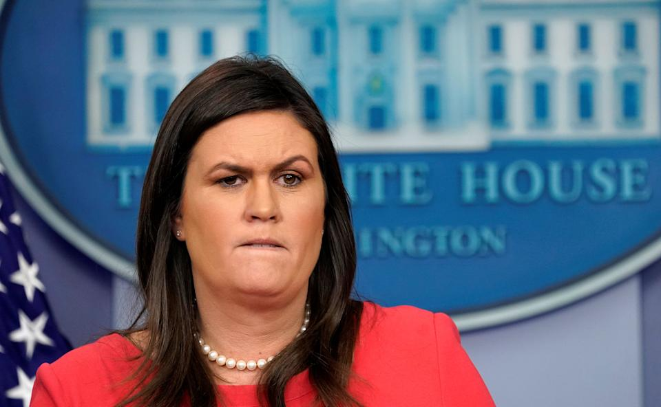 <p>Sarah Sanders holds a press briefing at the White House in Washington</p> (REUTERS)