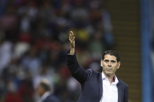 Spain head coach Fernando Hierro gestures during the group B match between Iran and Spain at the 2018 soccer World Cup in the Kazan Arena in Kazan, Russia, Wednesday, June 20, 2018. (AP Photo/Thanassis Stavrakis)