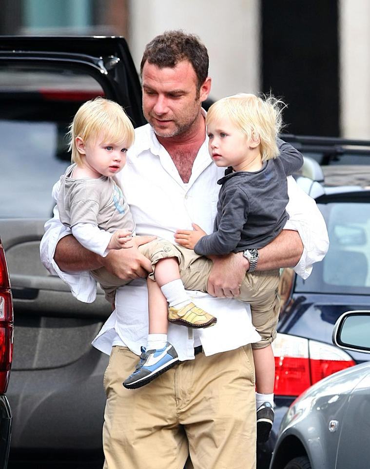 """Liev Schreiber had his arms full of beautiful towheaded boys -- his sons Samuel Kai and Alexander Pete -- while making his way back to the family's NYC apartment. Saleem Elatab-AhmadElatab/<a href=""""http://www.splashnewsonline.com"""" target=""""new"""">Splash News</a> - May 22, 2010"""