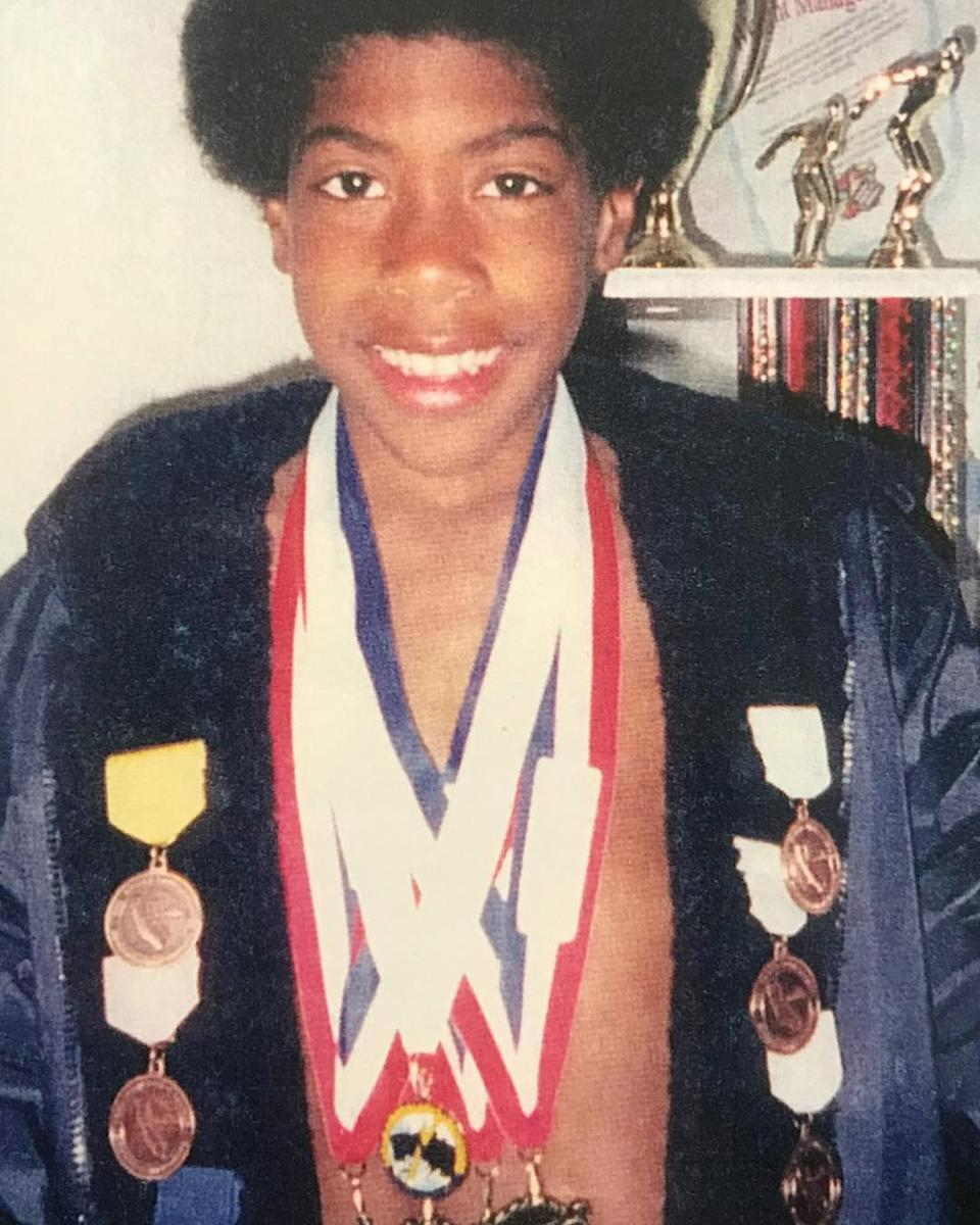 <p>This kiddo was already collecting medals before he became an Olympian...</p>