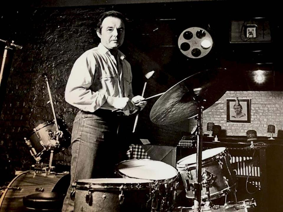 <p>Lovelock behind his kit. He played regularly at Ronnie Scott's jazz club in Soho</p> (Courtesy of Holly Lovelock)