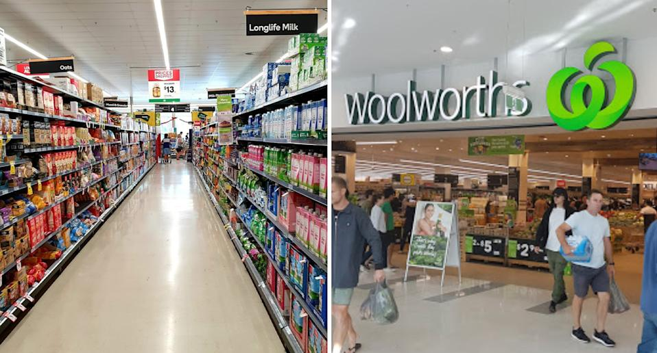Photo shows a full Woolworths aisle and the front of one of the supermarkets.