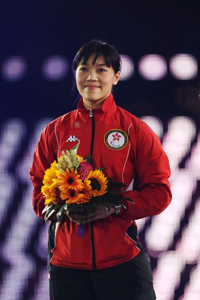 LONDON, ENGLAND - SEPTEMBER 09: Newly elected member of the IPC Council Yu Chui Yee of Hong Kong, China looks on during the closing ceremony on day 11 of the London 2012 Paralympic Games at Olympic Stadium on September 9, 2012 in London, England. (Photo by Peter Macdiarmid/Getty Images)