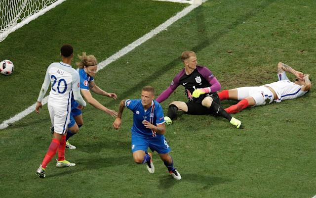 <span>Ragnar Sigurdsson nets Iceland's equaliser in the come-from-behind win over England at Euro 2016</span> <span>Credit: Ariel Schalit/AP </span>