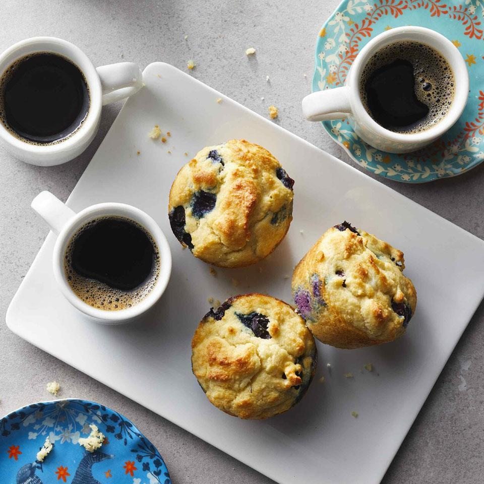 <p>Just because you're watching carbs doesn't mean you can't have the classic breakfast pastry. In place of all-purpose flour, nutty almond and coconut flours make these muffins fluffy while slashing carbs. A bit of brown sugar blunts the tartness of fresh blueberries. Make these ahead for a grab-and-go breakfast for the week.</p>