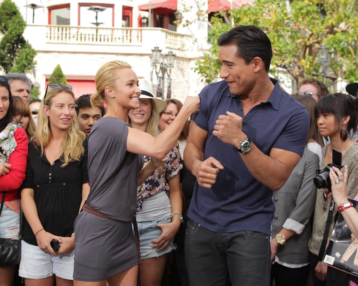"""Scream 4"" star Hayden Panettiere was also on hand for some friendly fighting with the new dad. Do you think the blond hottie could really take Mario in a fight? Noel Vasquez/<a href=""http://www.gettyimages.com/"" target=""new"">GettyImages.com</a> - April 13, 2011"