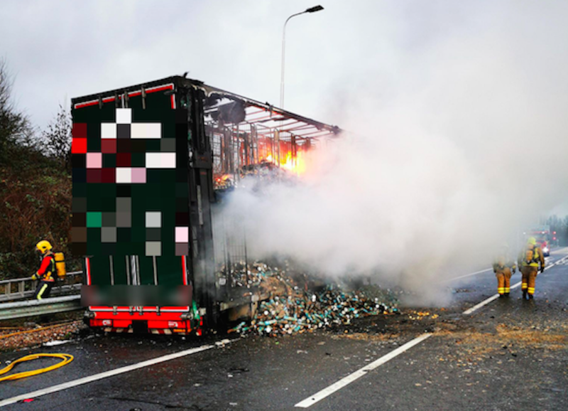 Thousands of Pringles containers were burnt in the fire (Picture: Highways England)