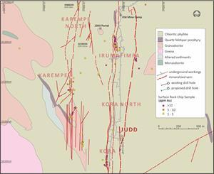 Location Map of the Judd Vein System, 1235 Level Bulk Sample, Surrounding Veins and Infrastructure