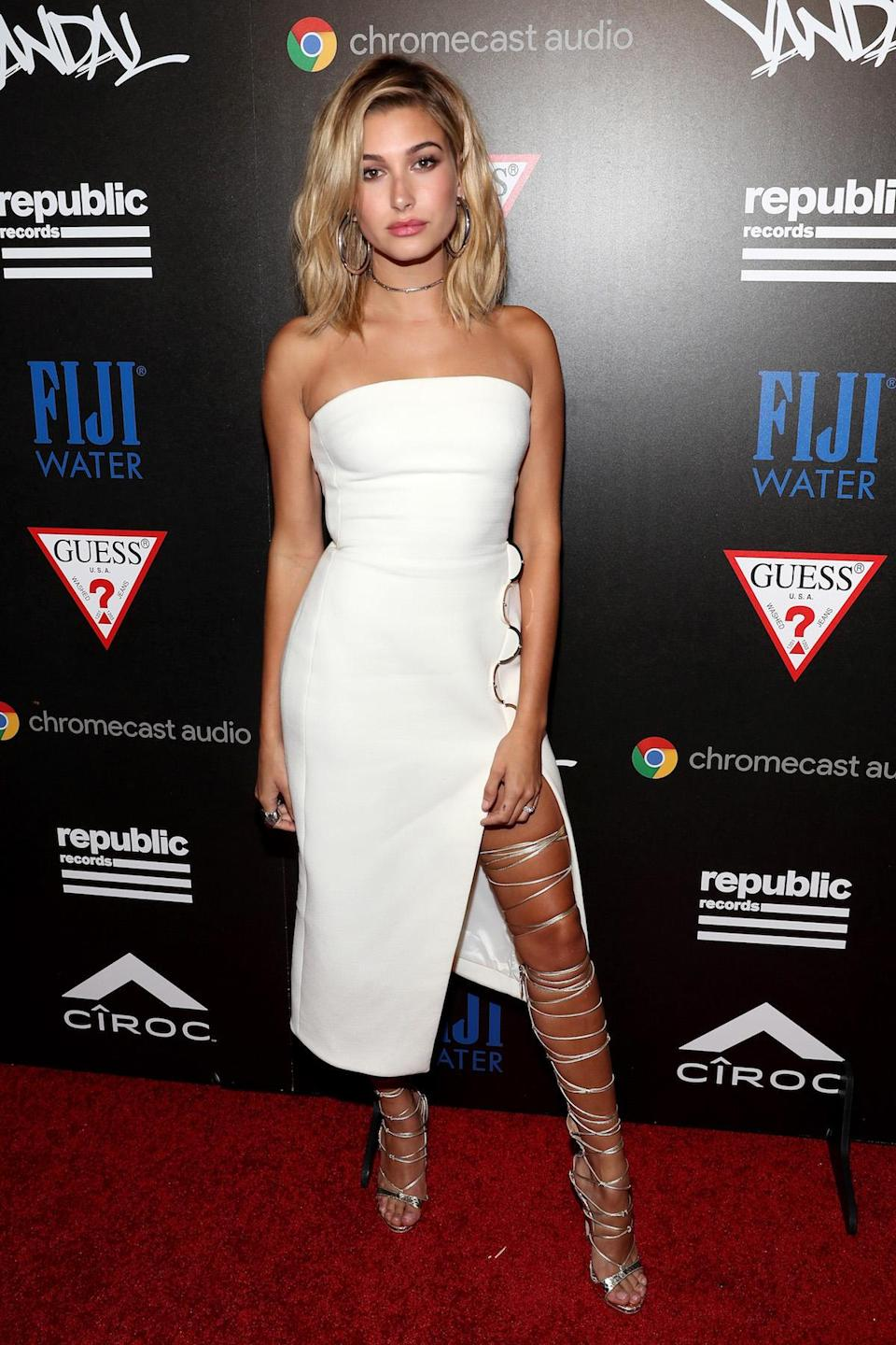 <p>Baldwin features the Jennifer Fisher Samira Hoop earrings in her look at the Republic Records and Guess Party in New York. (Photo: Rob Kim/Getty Images for Republic Records) </p>