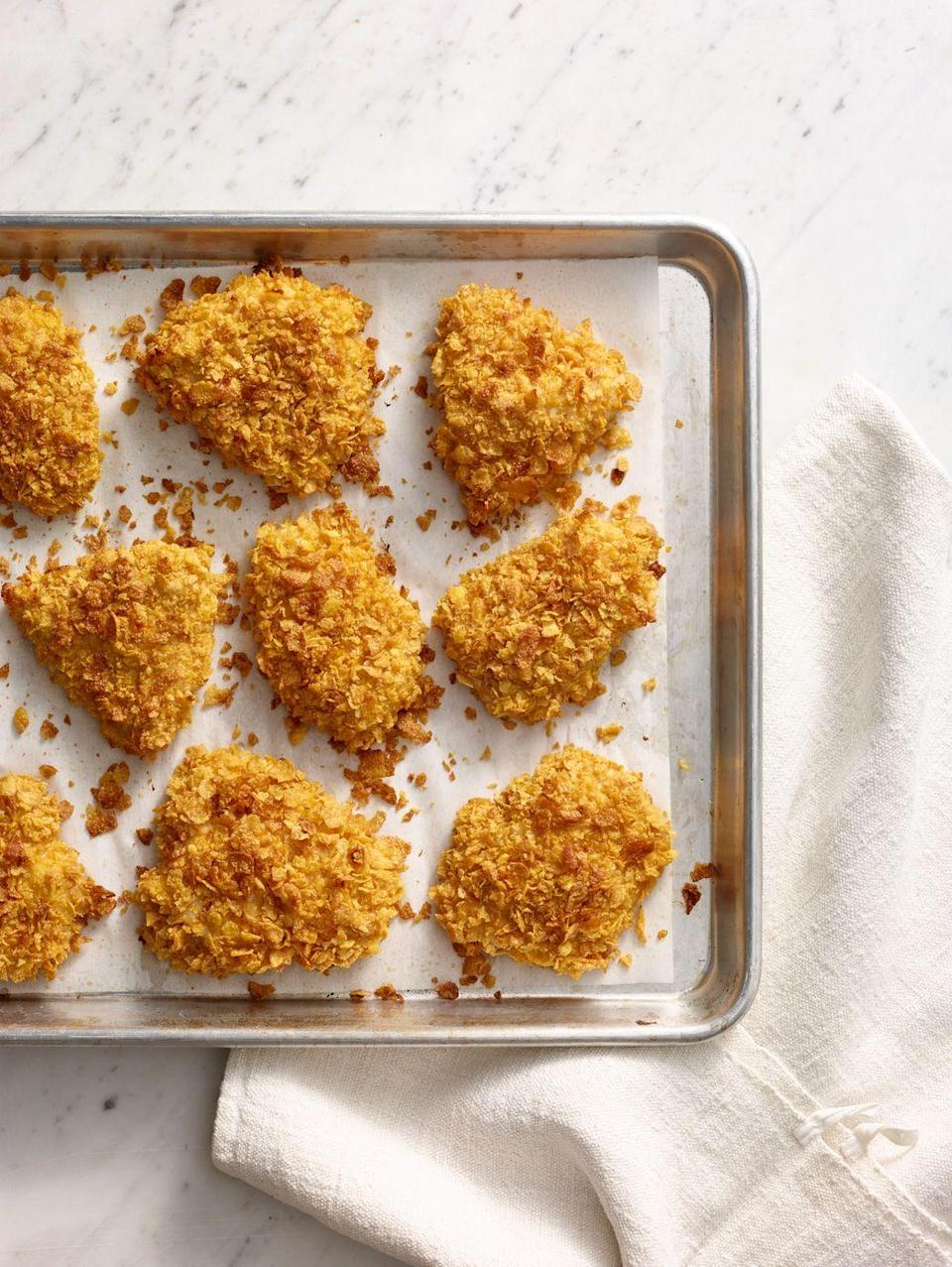 "<p>Try this recipe when you want fried chicken, but not the food coma that comes with it. </p><p><em><a href=""https://www.goodhousekeeping.com/food-recipes/a14849/crispy-baked-chicken-recipe-wdy0315/"" rel=""nofollow noopener"" target=""_blank"" data-ylk=""slk:Get the recipe for Crispy Baked Chicken »"" class=""link rapid-noclick-resp"">Get the recipe for Crispy Baked Chicken »</a></em></p>"