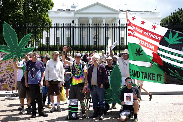 Marijuana activists stage a demonstration in front of the White House on Independence Day on July 4, 2021 in Washington, DC. (Alex Wong/Getty Images)