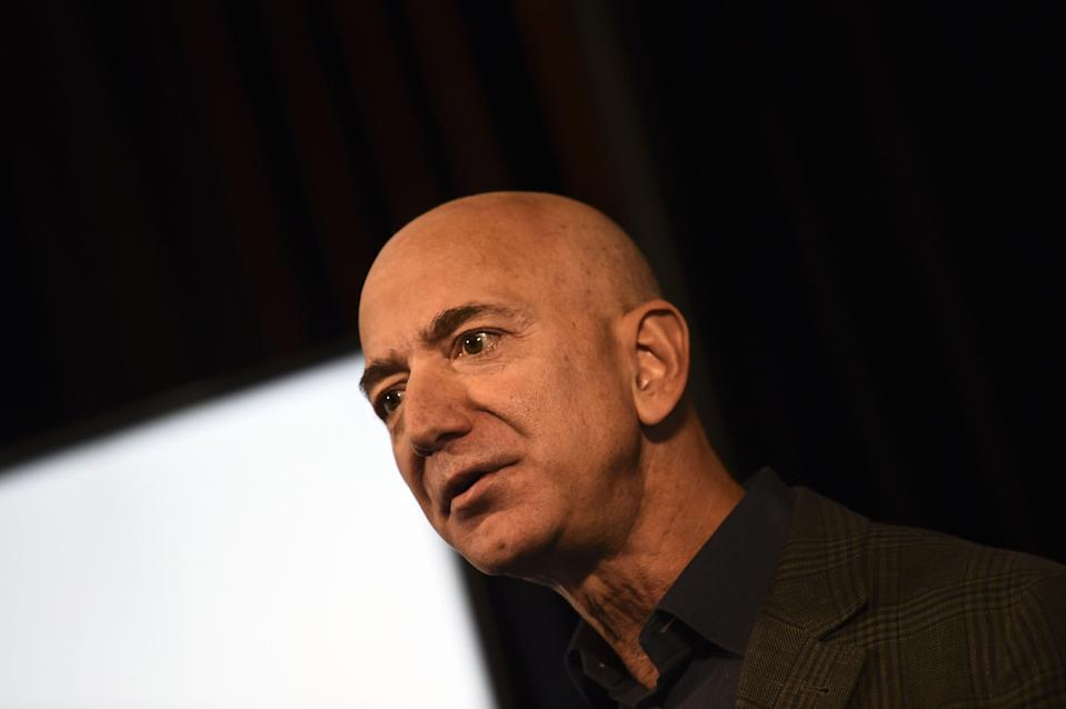 Amazon Founder and CEO Jeff Bezos speaks to the media on the company's sustainability efforts on 19 September 2019 in Washington, DC ((AFP via Getty Images))