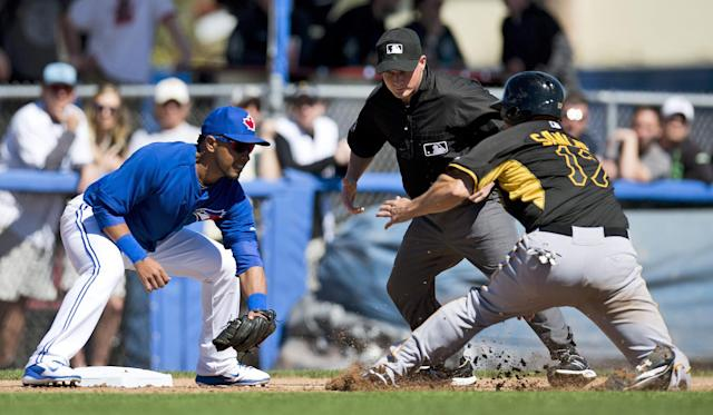 Pittsburgh Pirates' Gaby Sanchez stops before getting tagged out by Toronto Blue Jays third baseman Maicer Izturis during the fourth inning of a spring exhibition baseball game against the Pittsburgh Pirates in Dunedin, Fla. on Friday Feb. 28, 2014. (AP Photo/The Canadian Press, Frank Gunn)