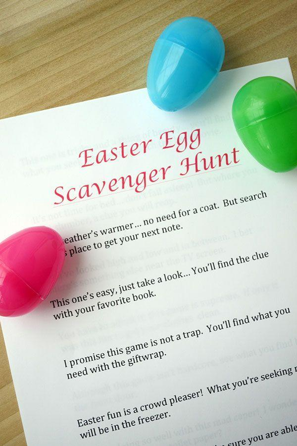 """<p>Have fun writing the clues that lead the kids to the next egg. Add candy to keep them motivated!</p><p><strong>Get the tutorial at <a href=""""http://www.storypiece.net/2014/04/09/easter-egg-scavenger-hunt/#_a5y_p=1496697"""" rel=""""nofollow noopener"""" target=""""_blank"""" data-ylk=""""slk:Storypiece"""" class=""""link rapid-noclick-resp"""">Storypiece</a>. </strong><strong><br></strong></p>"""