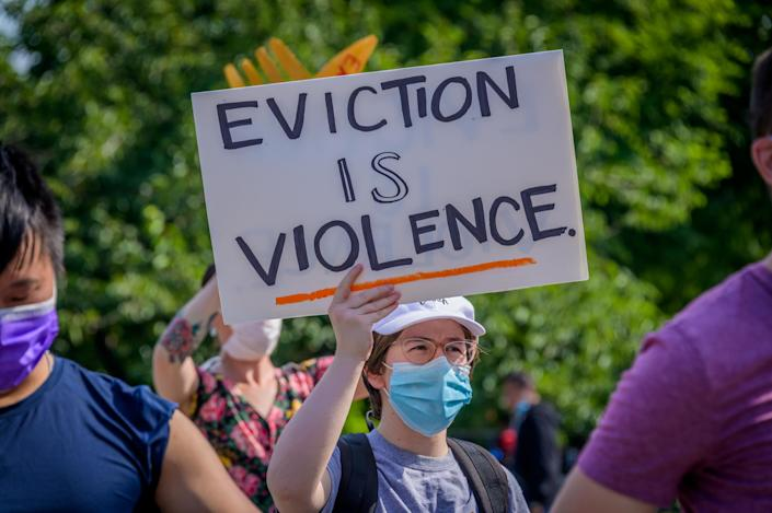 Housing activists at a protest in Brooklyn, N.Y. (Erik McGregor/LightRocket via Getty Images)