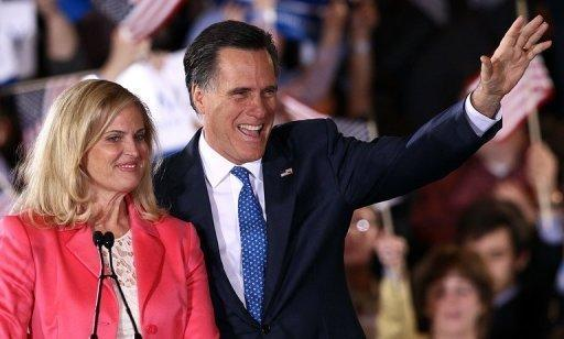 Republican presidential candidate Mitt Romney and his wife Ann Romney thank supporters at the Westin Copley Place on March 6, in Boston, Massachusetts. Romney got off to a big early lead Sunday in the US territory of Puerto Rico's Republican primary, a usually overlooked race with newfound significance in the White House race