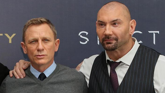 """MEXICO CITY, MEXICO - NOVEMBER 01: (L-R) Actors Christoph Waltz, Sam Smith, Daniel Craig and Dave Bautista attend a photo call to promote the new film """"Spectre"""" on November 1, 2015 in Mexico City, Mexico. () <span class=""""copyright"""">Photo by Victor Chavez/WireImage</span>"""