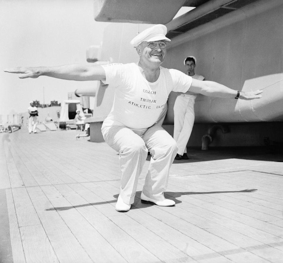 <p>Harry Truman leads a bunch of newsmen in calisthenics during a 12-day cruise from Rio de Janeiro in 1947.</p>