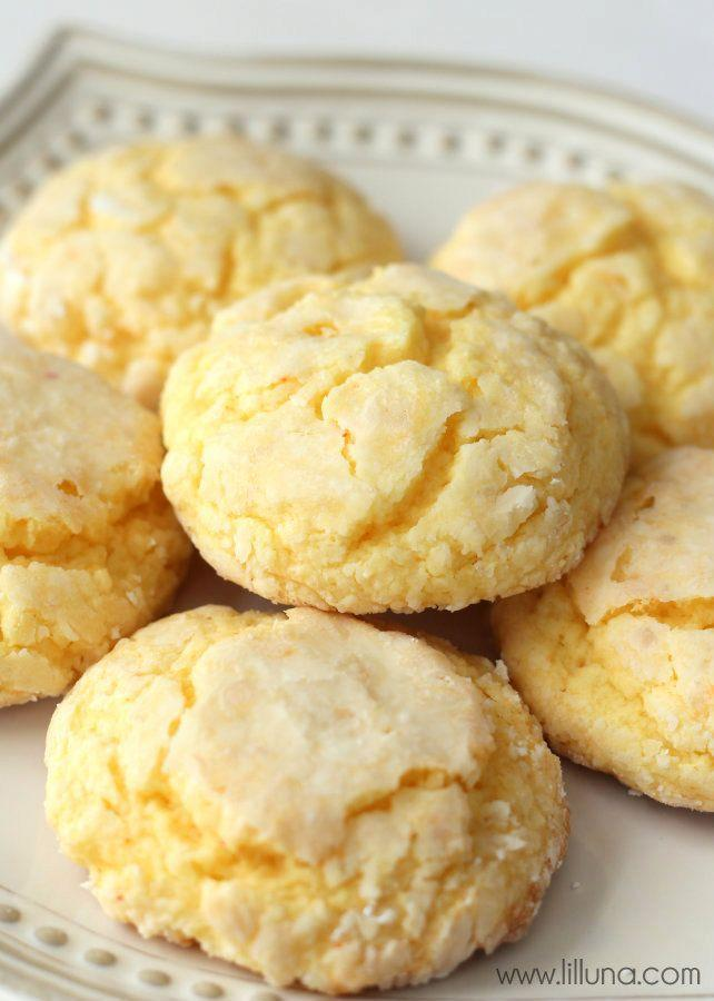 """<p>Gooey Butter Cakes are the dense and moist confections that St. Louis is known for, and these Gooey Butter Cake Cookies have the same effect on your tastebuds. The best part? They're made easy with a box of yellow cake mix.</p><p>Get the recipe from <a href=""""https://lilluna.com/recipe-tip-of-the-week-gooey-butter-cookies/"""" rel=""""nofollow noopener"""" target=""""_blank"""" data-ylk=""""slk:Lil' Luna"""" class=""""link rapid-noclick-resp"""">Lil' Luna</a>.</p>"""