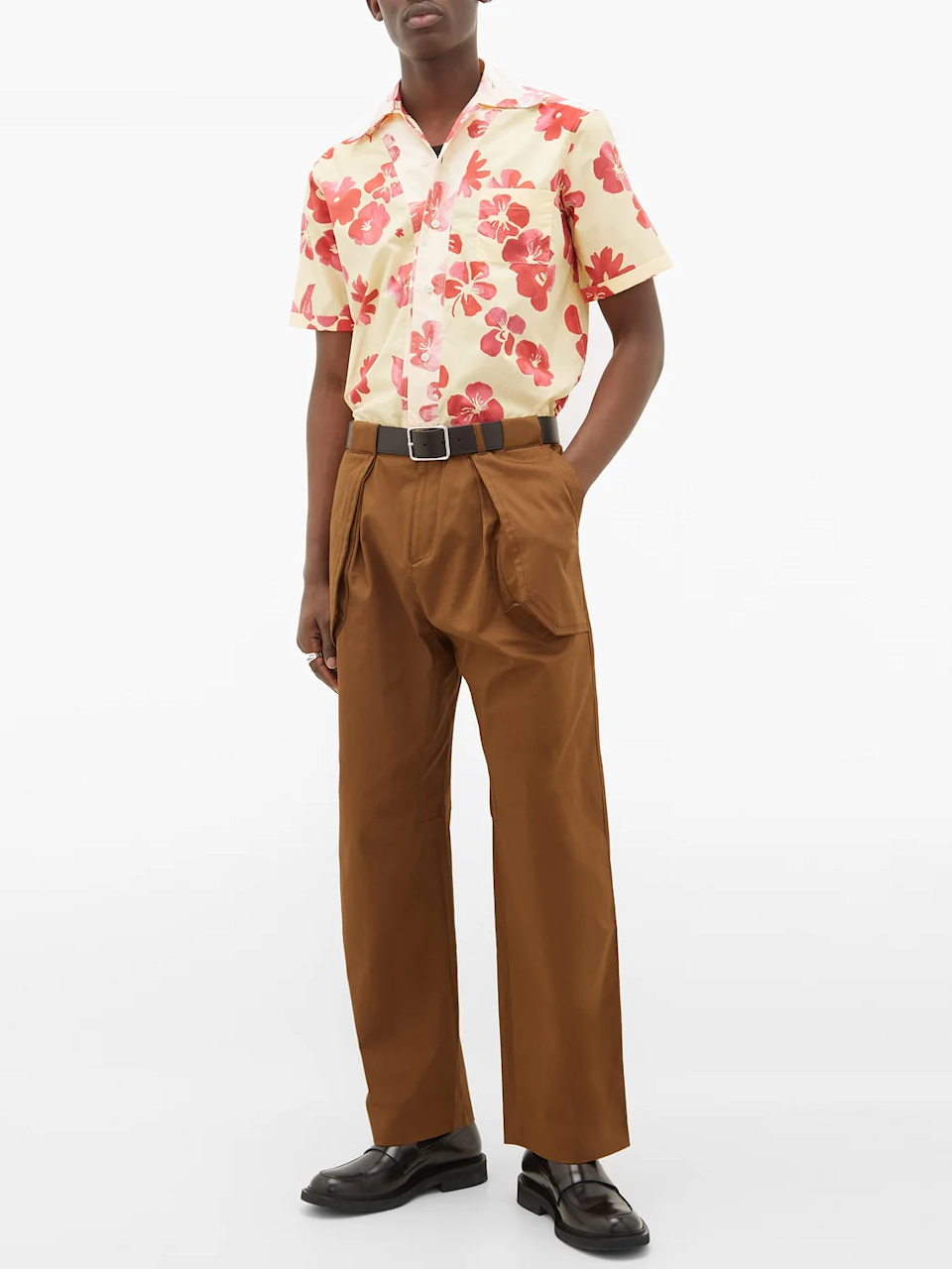 """A tropical shirt is a staple in every dad's wardrobe. Make your dad's stand out in the crowd with this buttery alternative courtesy of British menswear label <a href=""""https://walesbonner.net/"""" rel=""""nofollow noopener"""" target=""""_blank"""" data-ylk=""""slk:Wales Bonner"""" class=""""link rapid-noclick-resp"""">Wales Bonner</a>. <br> <br> <strong>Wales Bonner</strong> Hibiscus Print Cuban Collar Cotton Poplin Shirt, $, available at <a href=""""https://go.skimresources.com/?id=30283X879131&url=https%3A%2F%2Fwww.matchesfashion.com%2Fus%2Fproducts%2FWales-Bonner-Hibiscus-print-Cuban-collar-cotton-poplin-shirt-1323259"""" rel=""""nofollow noopener"""" target=""""_blank"""" data-ylk=""""slk:Matches Fashion"""" class=""""link rapid-noclick-resp"""">Matches Fashion</a>"""