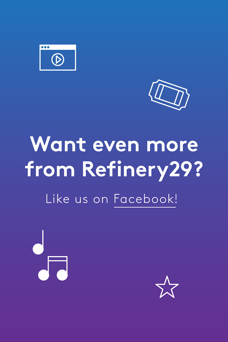 "Like this post? There's more. Get tons of celebrity news, fun takes on pop culture, and trending stories on the <a href=""https://www.facebook.com/R29Entertainment/?fref=ts"" rel=""nofollow noopener"" target=""_blank"" data-ylk=""slk:Refinery29 Entertainment Facebook page"" class=""link rapid-noclick-resp"">Refinery29 Entertainment Facebook page</a>. Like us on Facebook — we'll see you there!"