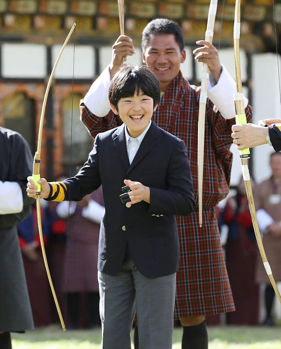 <p>The son and youngest child of Crown Prince Akishino and Crown Princess Kiko, 14 year old Hisahito is second in line to the throne after his father. Here he is in 2019 practicing archery on a trip to Thimphu, Bhutan.<br></p>