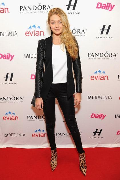Leather Jacket? White Shirt? Statement shoes? This ensemble has all the makings of the standard fashion model uniform.