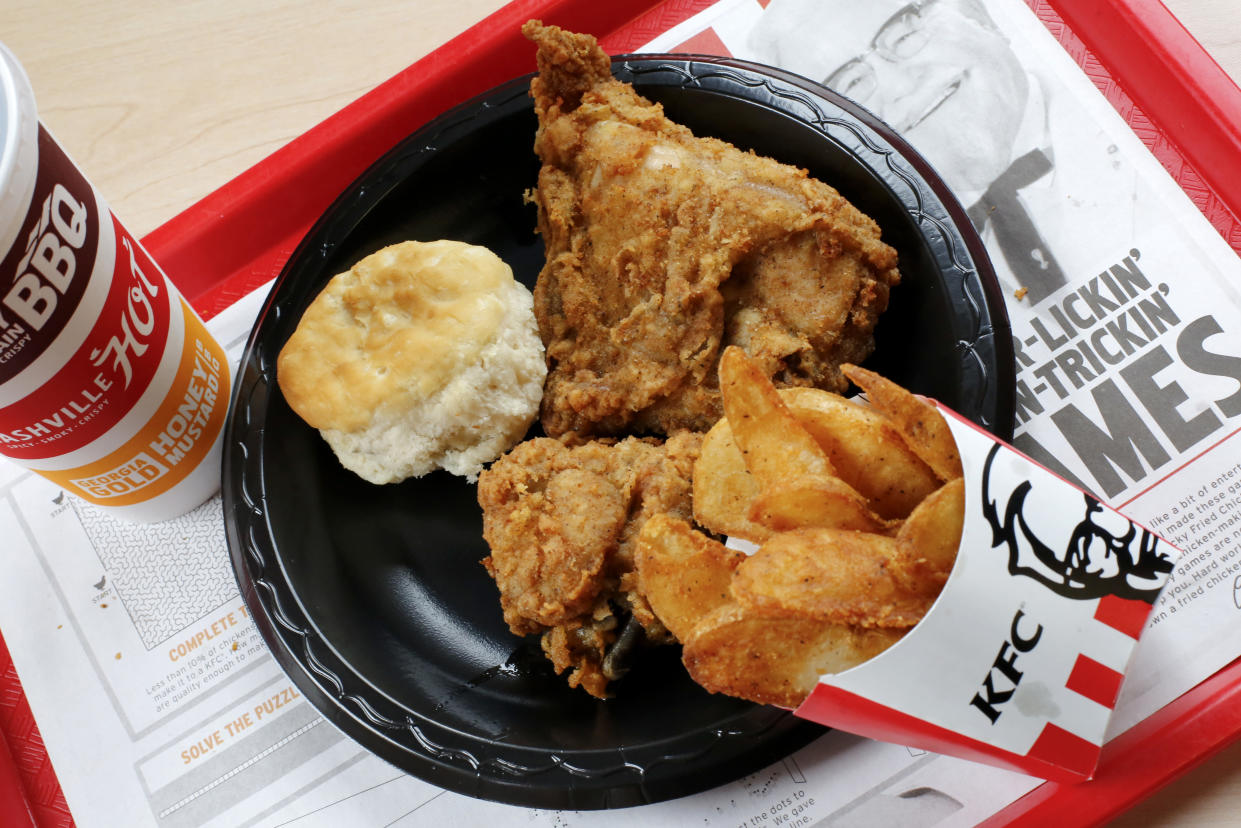 This Feb. 23, 2018 photo shows a 2-piece combo meal at a KFC restaurant in Pittsburgh Friday, Feb. 23, 2018. (AP Photo/Gene J. Puskar)