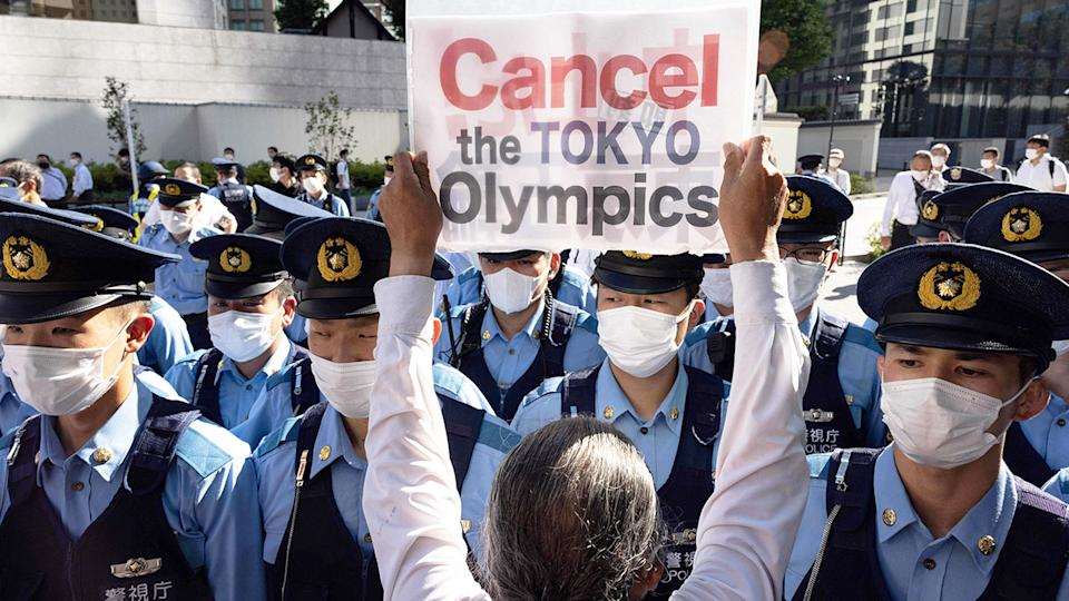 The Olympics have been quite unpopular in Japan with protests about holding the Games a regular occurrence in Tokyo. Pic: Getty
