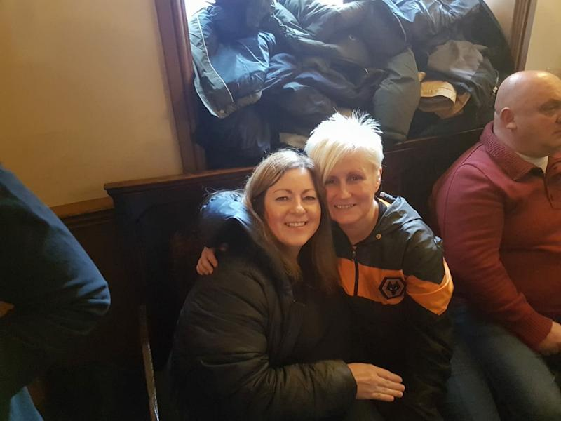 Wolves fan Claire Elliott with a friend in Wolverhampton