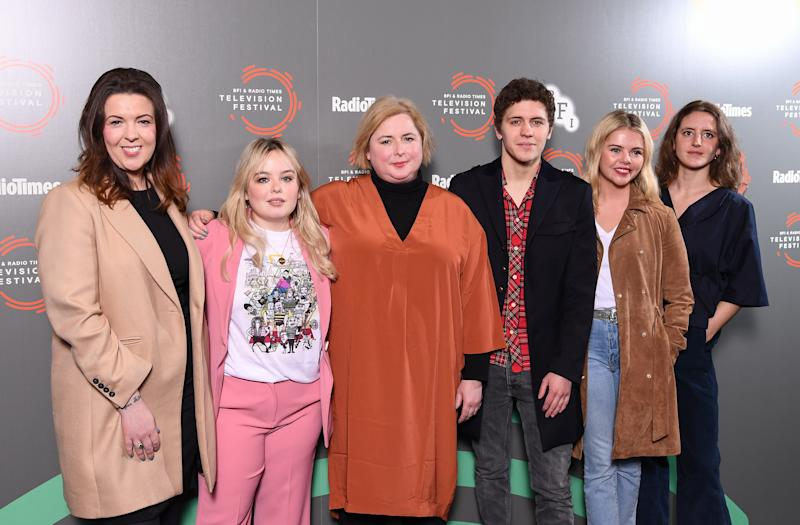 "Lisa McGee, Nicola Coughlan, Siobhan McSweeney, Dylan Llewellyn, Saoirse-Monica Jackson and Louisa Harland attend the ""Derry Girls"" photocall during the BFI & Radio Times Television Festival 2019 at BFI Southbank on April 14, 2019 in London, England. (Photo by Jeff Spicer/Getty Images)"