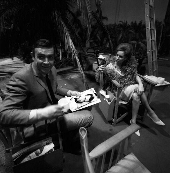 <p>Sean Connery and Luciana Paluzzi take a break on the set of the movie 'Thunderball', 1965.</p>