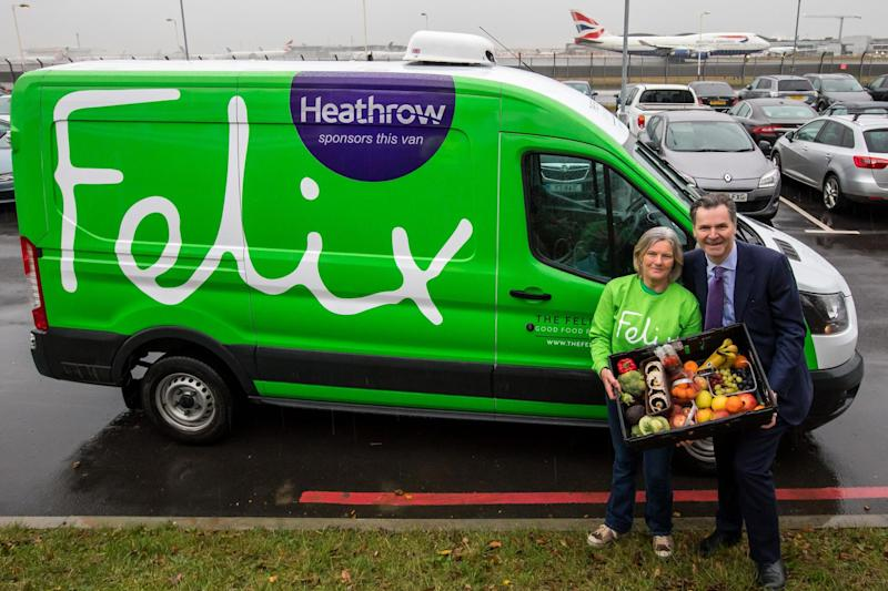 Sponsorship: Heathrow chief executive John Holland-Kaye and Jane Byam Shaw with the Felix van at Heathrow Airport: Alex Lentati