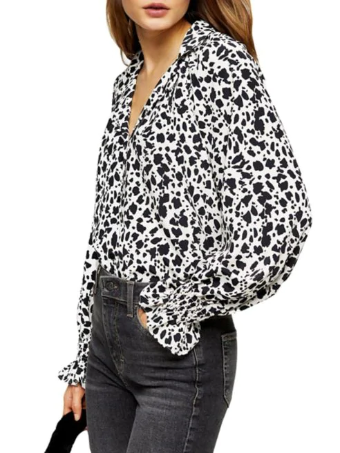 Topshop 80s Monochrome Animal-Print Shirt in black/white