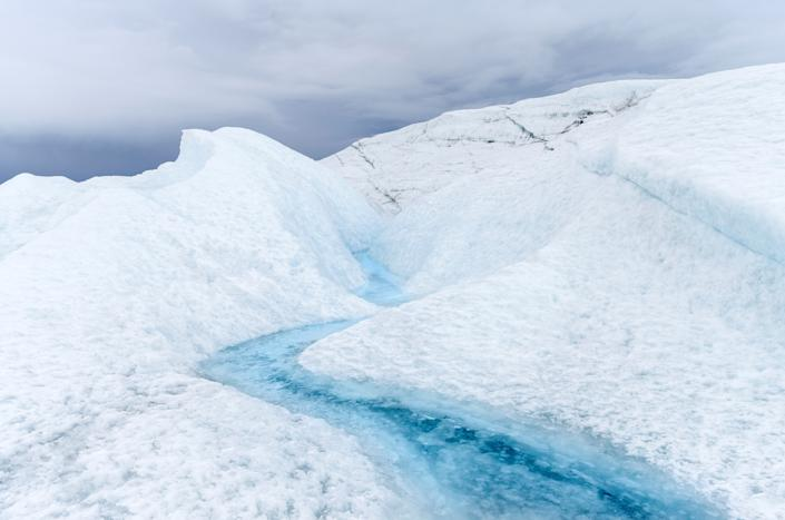Landscape on the Greenland Ice Sheet near Kangerlussuaq. America. North America. Greenland. Denmark. (Photo by: Martin Zwick/REDA&CO/Universal Images Group via Getty Images)