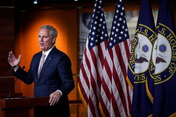 PHOTO: House Minority Leader Kevin McCarthy speaks during his weekly news conference at the Capitol, April 22, 2021. (Drew Angerer/Getty Images, FILE)